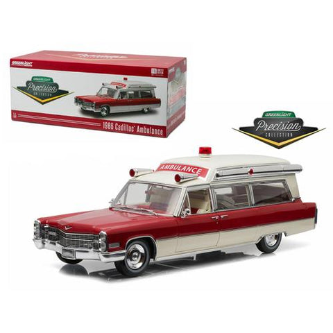 1966 Cadillac S&S 48 High Top Ambulance Red and White  1/18 Diecast