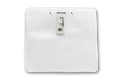 "BPID 1815-1405 Clear Vinyl Horizontal Badge Holder with Clip and Slot and Chain Holes, 4"" x 3.3"""