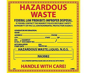 NMC HW15 Hazardous Waste For Liquids Hazmat Label - Pack of 25