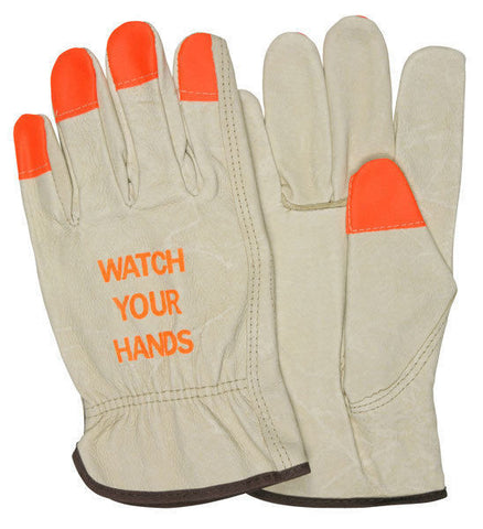 "MCR 3413HVI - Driver Glove, Industry Pigskin, ""Watch Your Hands"""