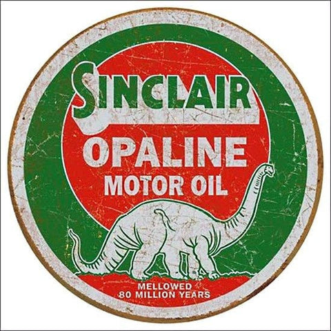 Sinclair Motor Oil Round Tin Metal Sign Vintage Shop Garage Wall Decor Gas Ad