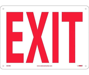 "NMC M24RB SAFETY SIGN - ""EXIT"" 10"" X 14"" Red on White Rigid Plastic."
