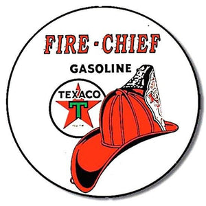Texaco T204 Fire Chief Round Tin Sign