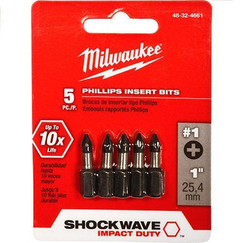 Milwaukee 48-32-4661 Shockwave 5pc Phillips #1 Insert Bit