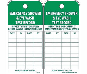 "NMC RPT37 Accident Prevention Tag ""EMERGENCY SHOWER AND EYE WASH TEST RECORD""..."