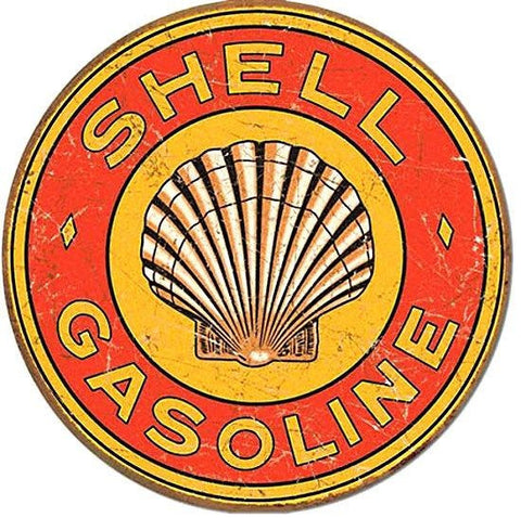 Shell Gasoline 1920's Round Tin Sign Vintage Metal Garage Gas and Oil Ad
