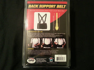 SAS Back Support Safety Belt, 7163 Black Large