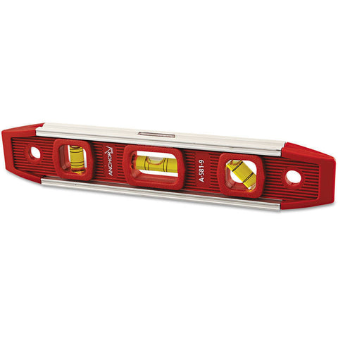 "Anchor Brand 100-A581-9 Magnetic Torpedo Level, 9"" Long, Aluminum, Tri-Vial"