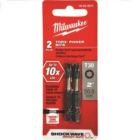 "Milwaukee 48-32-4914 Shockwave 2"" Torx T30 Power Bits, 2 Pack"