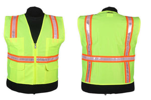 2W 8048A Lime Green Hi-Vis Surveyor Vest