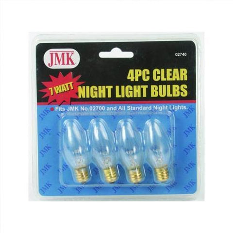 JMK 02740 7 Watt Clear Night Light Bulbs 4/ Pk