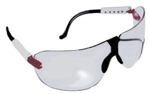 AO Safety, 16203-00000 Medium Fectoids, Safety Eyeware With Red/White/Blue Temple And Clear Lens
