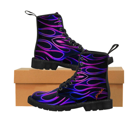 "MV Collections ""Blue Flames"" Men's Canvas Boots"