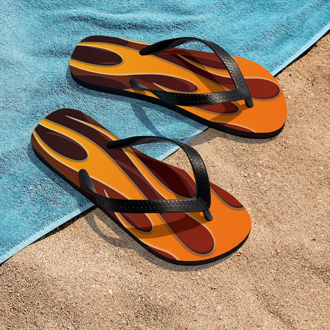 "MV Collection Unisex ""Orange Flame"" Flip-Flops"
