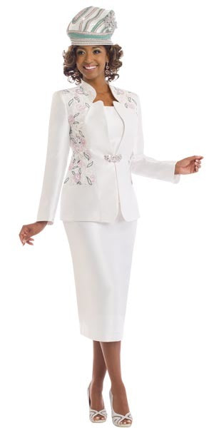 Donna Vinci 11539 Womens Skirt Suit For Church With Embroidered Design