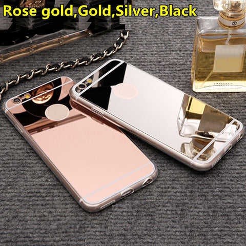 Kerzzil Rose gold Luxury Mirror Flash Fashion Case For iPhone 7 6 6S Plus 5s SE Soft Clear TPU Cover For iPhone 6 7 6S 5S