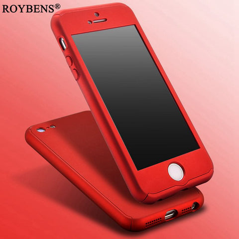 Roybens For iPhone 5S Case 360 Degree Coverage Full Protection Case For iPhone 5 5S SE Luxury Hard PC Cover + Clear Glass Film