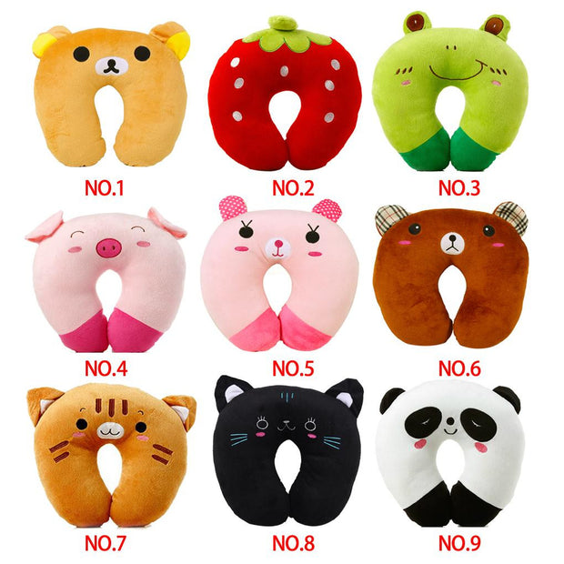 U-shaped Plush Pillow Travel Pillow Cartoon Animals