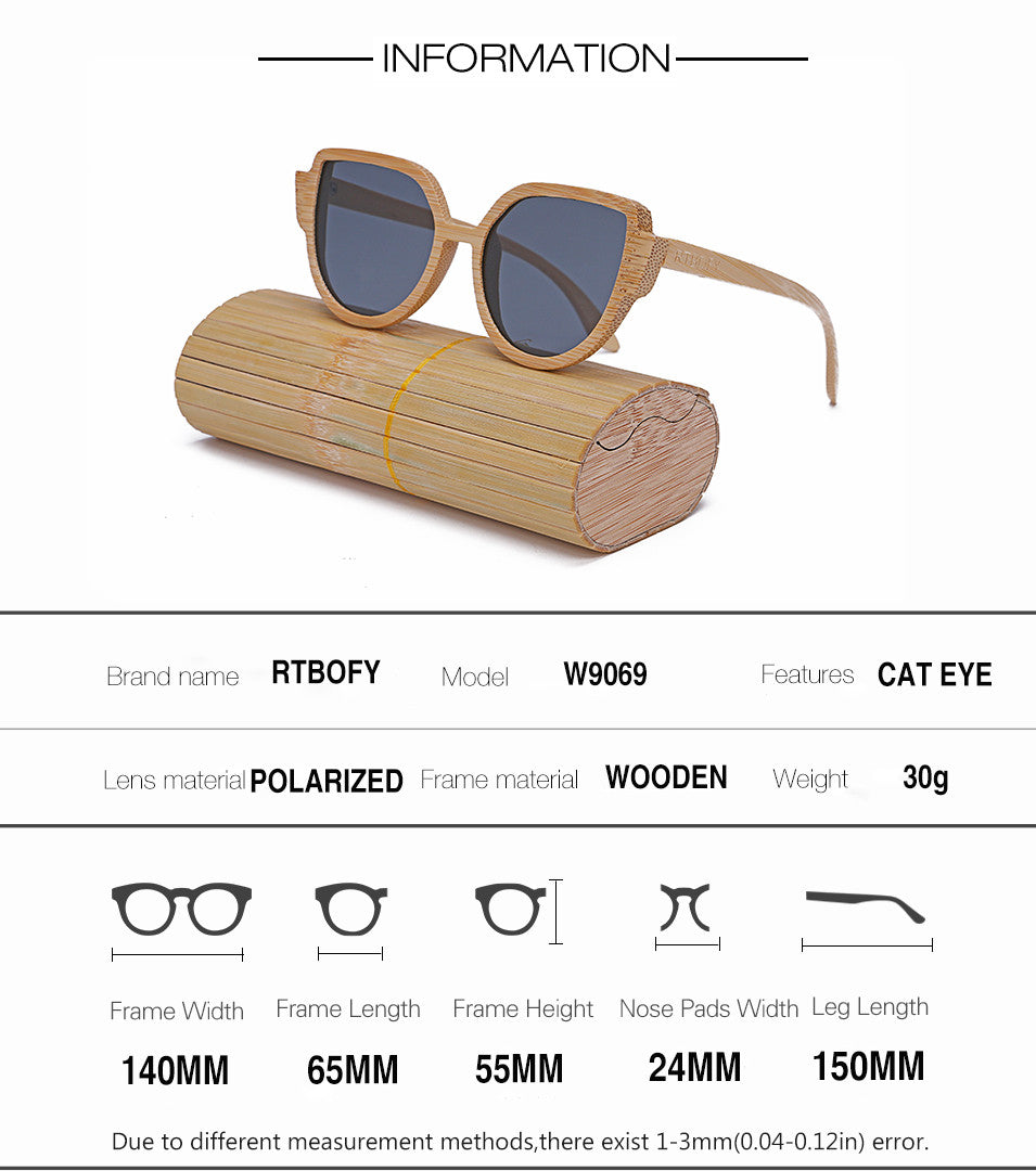 Womens' Wooden Mirror Polarized Sunglasses Designer  Glasses Cat Eye
