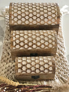 HoneyComb Style Trinket Box Set of 3