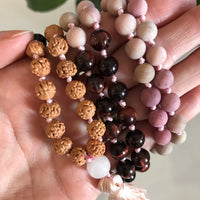 Red Tigers Eye & Matte Rhodochrosite Mala/Prayer Beads ~ TELEPATHIC