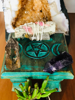 Altar Table ~ GREEN TRIPLE MOON