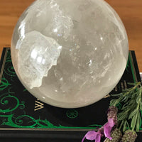 Clear Quartz Sphere Includes Wooden Holder