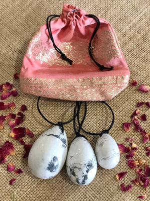 Yoni Eggs ~ White Howlite Set of 3 with Sari Pouch
