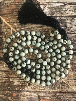 Kiwi Jasper, Lava Stone Mala/Prayer Beads ~ GO WITH THE FLOW