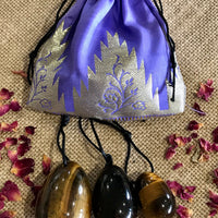 Yoni Eggs ~ Tigers Eye Set of 3 with Sari pouch