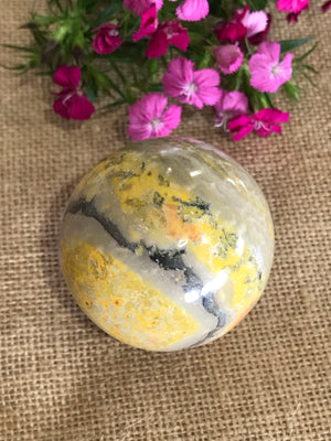 Bumble Bee Jasper Sphere Includes Wooden Holder