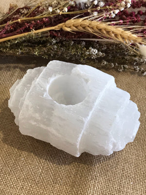Candle Holder ~ Selenite Log