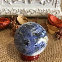 Sodalite Sphere Includes Wooden Holder