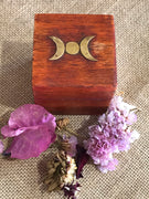 Wooden Wish Box ~ Triple Moon