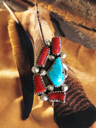 Navajo Coral & Turquoise Oxidised Ring