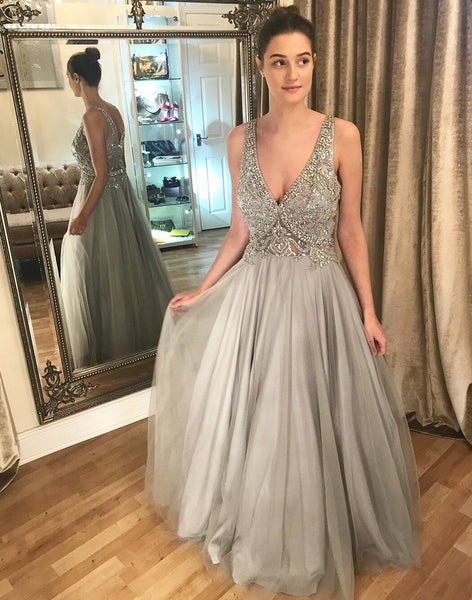 V-neck Sexy Long Prom Dress With Beaded Top Wedding Party Dress Formal Dress PDS0596