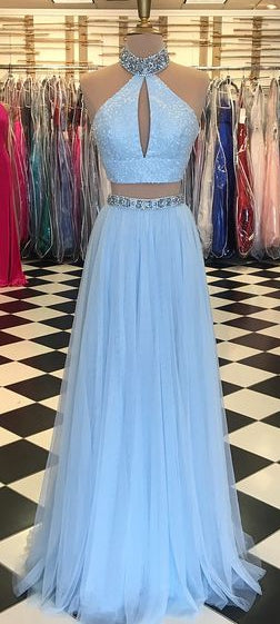 Two Piece Long Prom Dress With Beading ,Party Dress ,Formal Dress, PDS0529