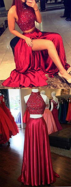 Two Piece Beaded Long Prom Dress  ,Popular Wedding Party Dress,Fashion Evening Dresses PDS0115