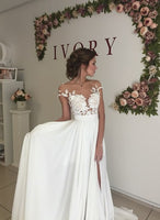 Sex A-line Beach Wedding Dress ,Popular Beach Bridal Dress With Applique BDS0076