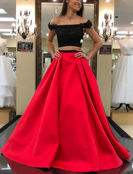 Two Pieces Black/Red Long Prom Dress,Fashion Winter Formal Dress, Wedding Party Dress PDS0955