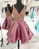 V-neck Beaded Homecoming Dress Short Dance Dresses Sweet 16 Dress Graduation Dress PDS0700
