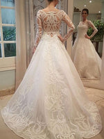 Fashion Unique A-line Long Sleeves Wedding Dress Appliqued Bridal Dresses Vestidos de Novia BDS0530