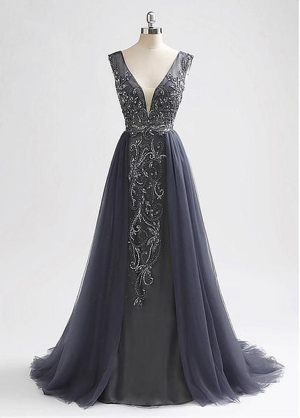 Open Back Long Prom Dresses With Beading ,Fashion Winter Formal Dress, School Dance Dress PDS1042