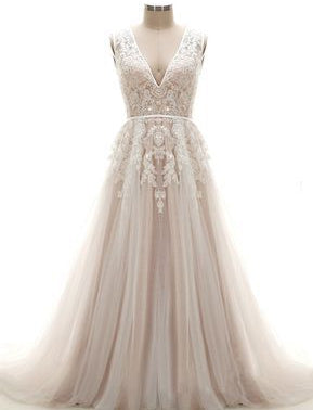A-line Appliqued Wedding Dress Ball Gown ,Popular Beach Wedding Dresses, Fashion Bridal Dress BDS0202