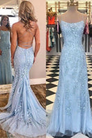 Mermaid Long Prom Dresses with Applique,Sweet 16 Dress, Pageant Dress, Wedding Party Dress PDS1118