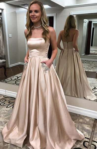 Strapless A-line Long Prom Dress Wedding Party Dress Formal Dress PDS0623
