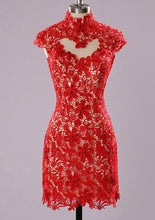Short Red Lace Homecoming Dress With Beading, Short Prom Dress  PDS0087