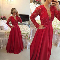V-neck Long Red Prom Dress With Sleeves , Long Wedding Party Dress, PDS0136