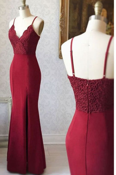 Burgundy Mermaid Long Prom Dress with Slit ,Fashion Pageant Dress, School Dance Dress PDS0926