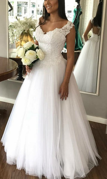 Handmade A-line Tulle Wedding Dress With Applique and Beading Cheap Bridal Dresses BDS0309